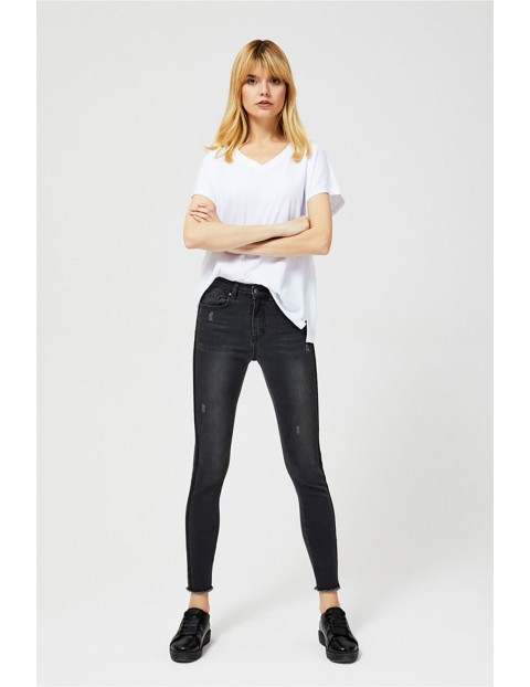 Spodnie damskie jeansowe typu high waist czarne