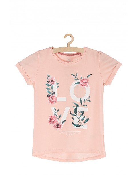 Koszulka dziewczęca różowa z ozdobnym napisem LOVE