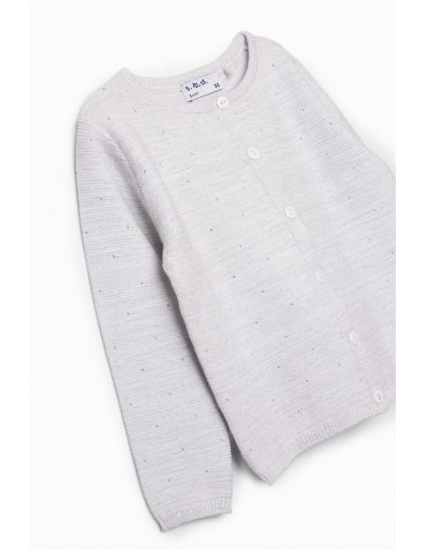 Sweterek dziewczęcy biały ze srebrną nitką