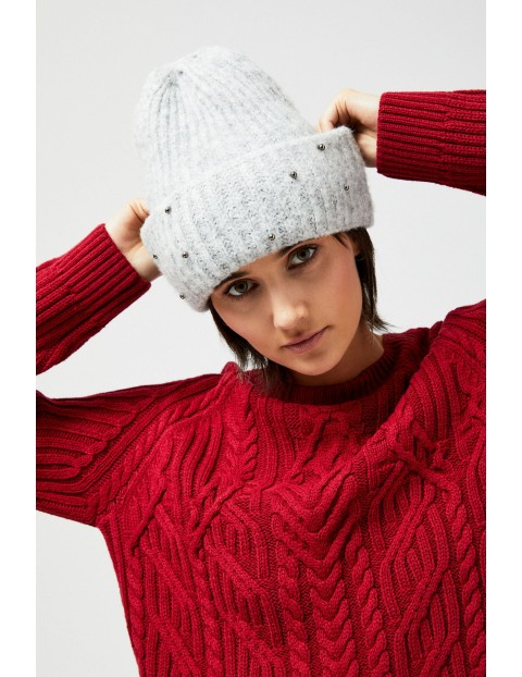 Ciepła czapka na zimę- szara