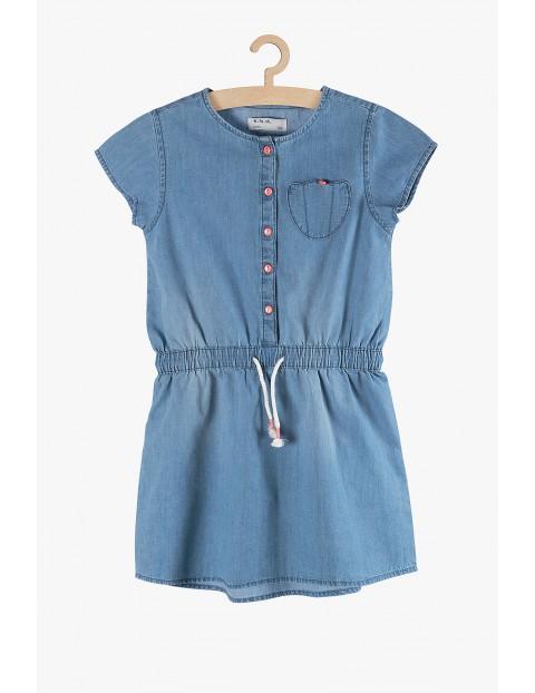 Sukienka dziewczęca niebieska na guziki