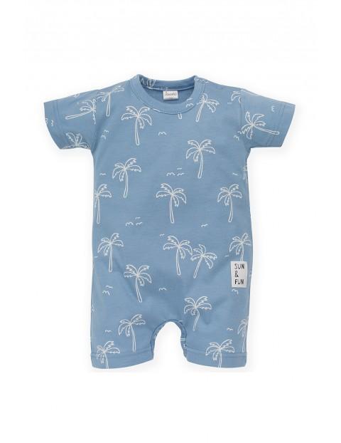 Rampers niemowlęcy niebieski w palmy- 100% bawełna