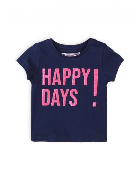 T-shirt dziewczęcy granatowy z napisem happy days