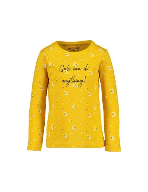 Bluzka dzianinowa- żółta w kwiatki