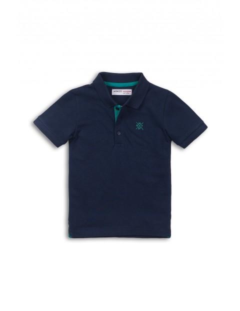 Granatowy t-shirt z kołnierzykiem dla niemowlaka