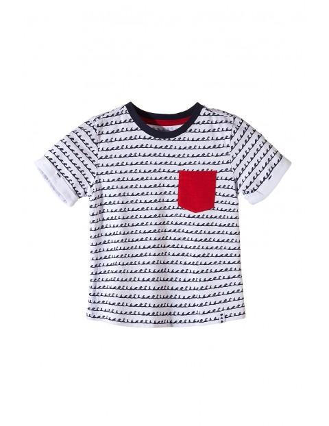 T-shirt chłopięcy z czerwoną kieszonką-100% Bawełna