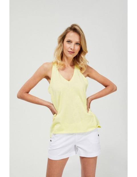 Bawełniany top damski żółty
