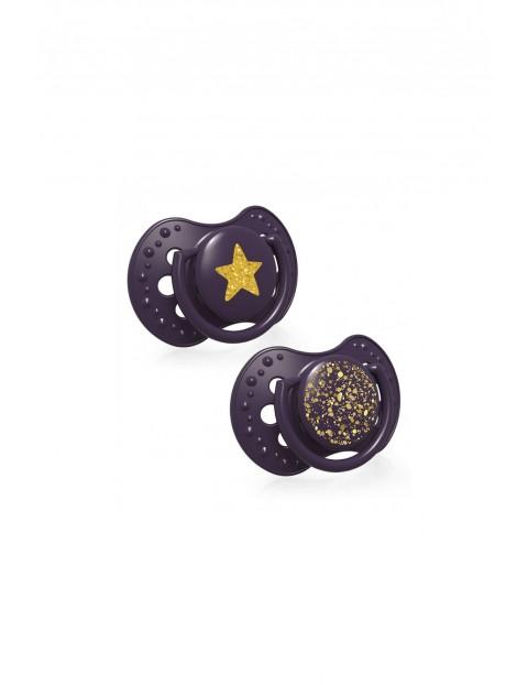 LOVI Smoczek silikonowy dynamiczny Stardust - fioletowy  3-6m - 2 szt
