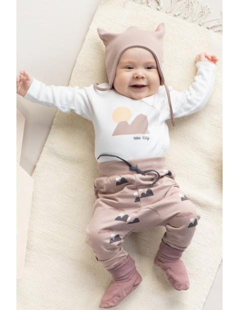 Bawełniane body niemowlęce rozpinane z długim rękawem