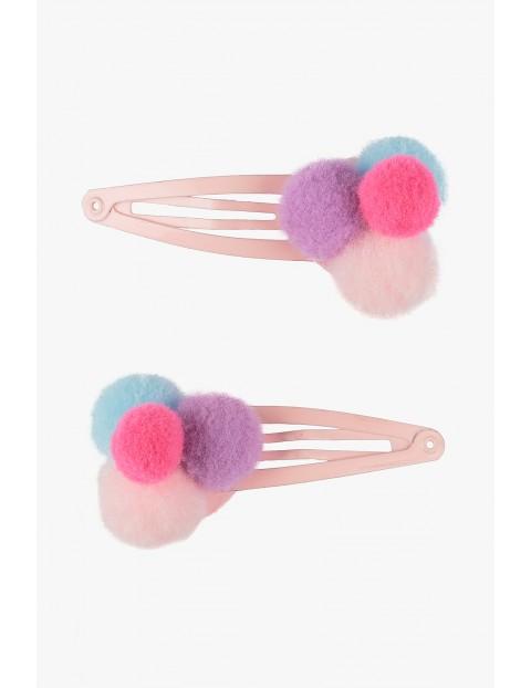 Spinki do włosów- rożowe z pomponami