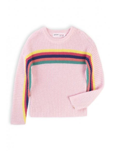 Rózowy sweter dziewczęcy w kolorowe paski