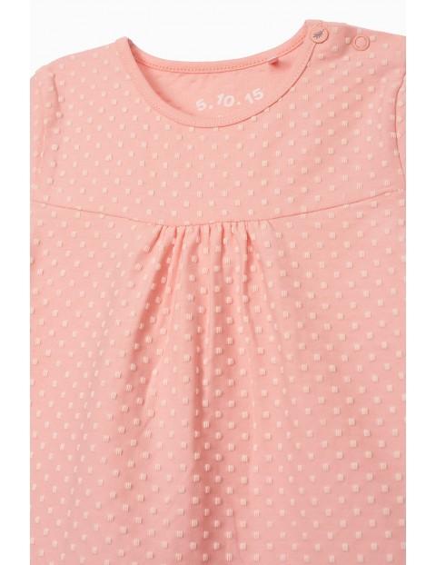 T-shirt dziewczęcy - różowy z delikatnym nadrukiem