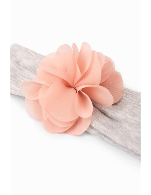 Opaska dziewczęca na głowę z kwiatkiem - szara