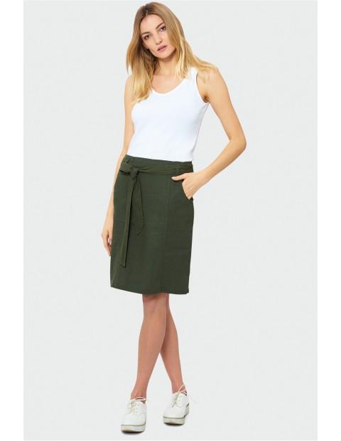 Lniana, zielona spódnica z paskiem