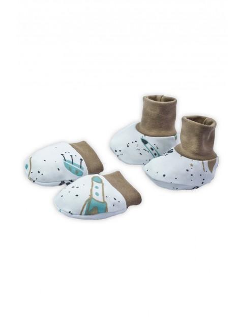 Bawełniany komplet rękawiczki niedrapki i buciki - Space