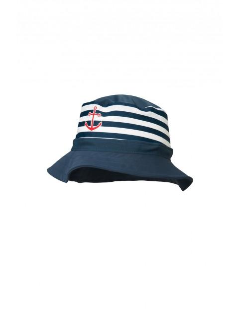 Kapelusz z filtrem UV biało-granatowe paski marynarz