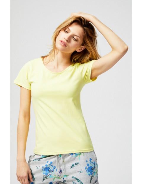 T-shirt damski z ozdobnym tyłem zółty