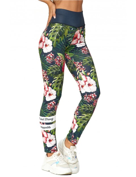 Legginsy damskie sportowe tropikalne w kwiaty