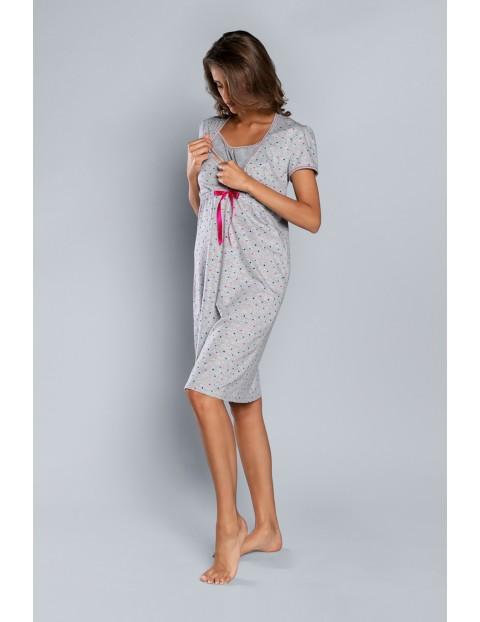 Koszula nocna damska w kolorze szarym w małe kolorowe serduszka - krótki rękaw