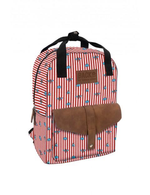 Plecak dla dziewczynki czerwono białe-paski