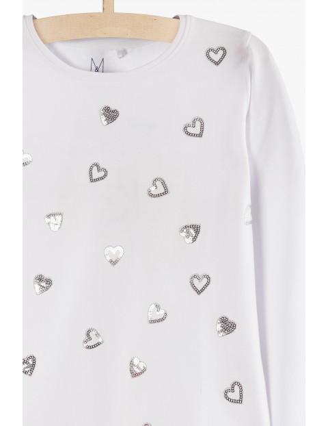 Biała bluzka w srebrne cekinowe serduszka
