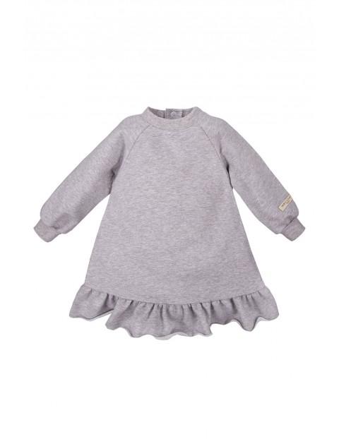 Bawełniana sukienka dresowa SIMPLY COMFY - szary