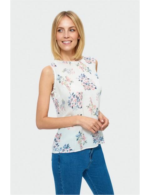 Bluzka damska- ecru w kwiaty