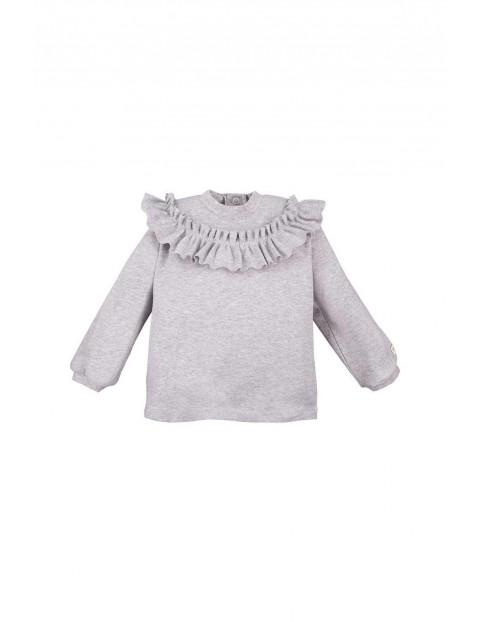 Bawełniana bluza z falbanką - szara