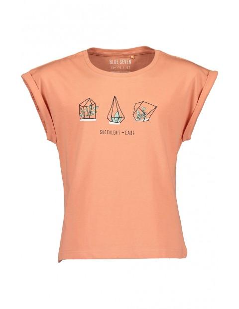 Koszulka dziewczęca brzoskwiniowa z kolorowym nadrukiem