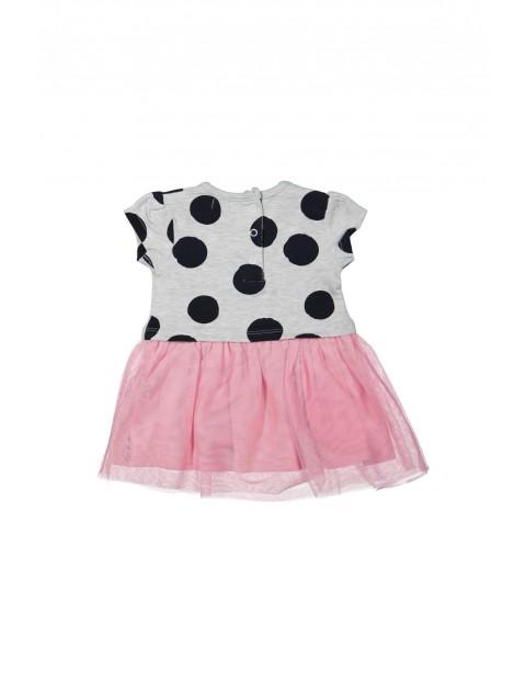 Sukienka dziewczęca z różową tiulowa falbanką