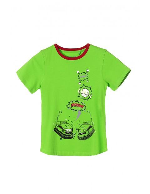 Bawełniany t-shirt dla chłopca-zielony z nadrukami