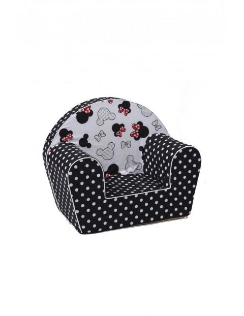 Czarny fotelik z białe kropki z Myszką Mini i Miki