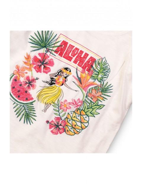 T-shirt z kolorowym nadrukiem Aloha