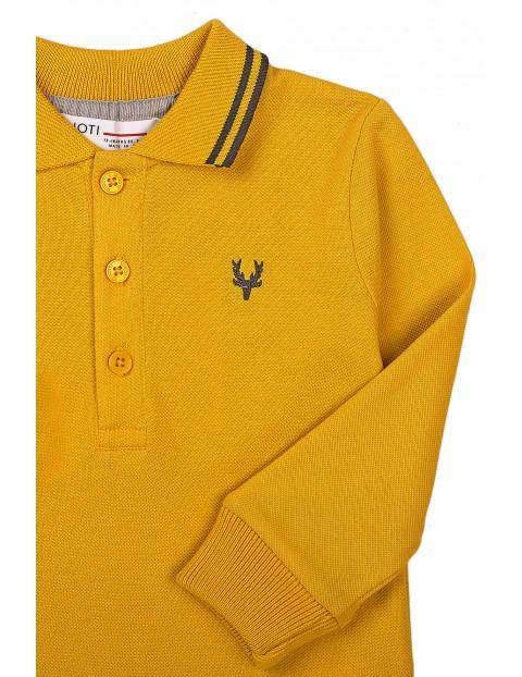 Bluzka niemowlęca bawełniana z kołnierzykiem- żółta