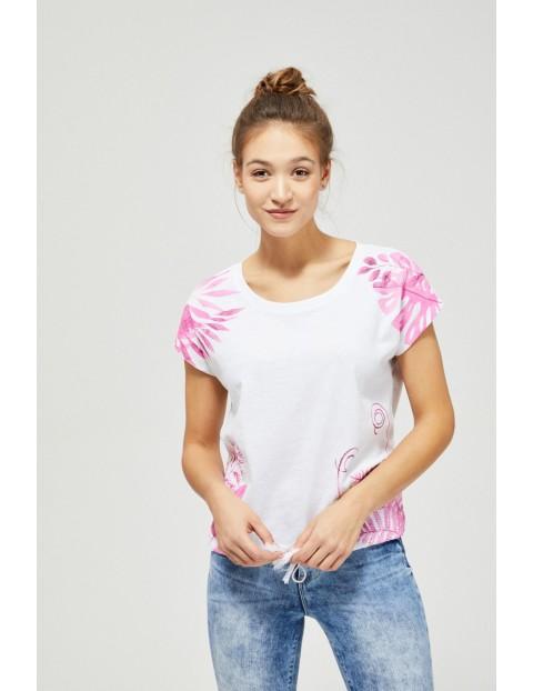 Bawełniany biały T-shirt damski na krótki rękaw