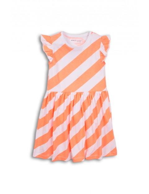 Sukienka na lato w biało-pomarańczowe paski