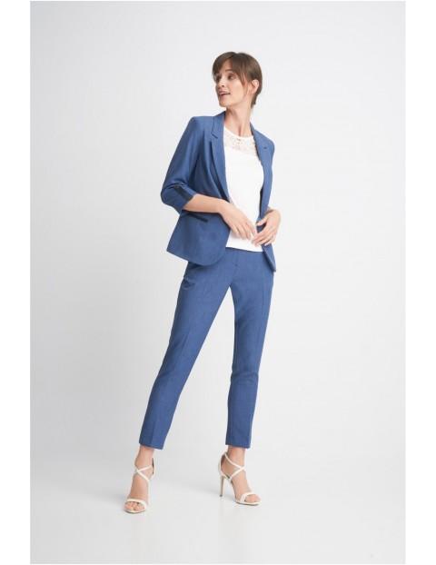Długie spodnie damskie z wstawką na pasku - niebieskie