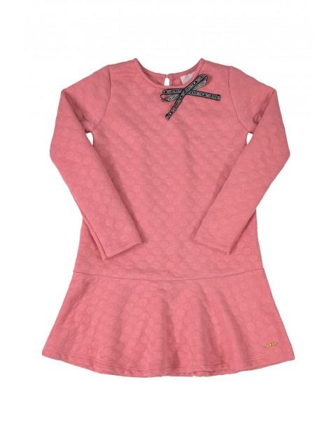 Sukienka dziewczęca - różowa z długim rękawem