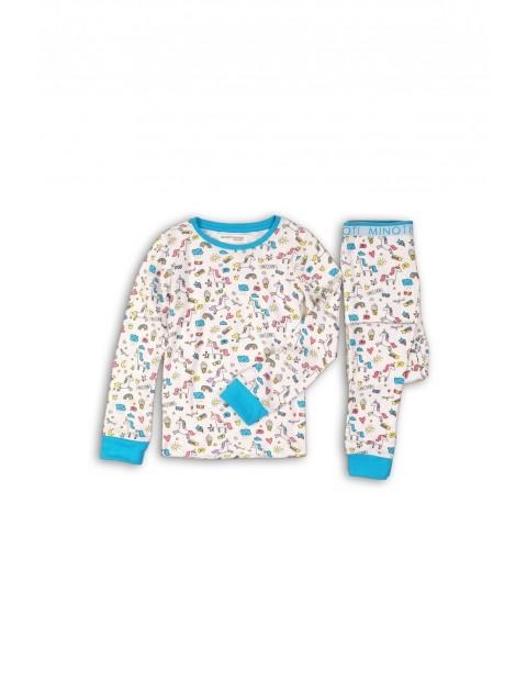 Pidżama dziewczęca biało-niebieska w jednorożce
