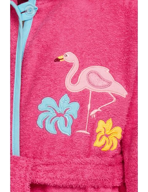 Szlafrok frotte z flamingiem różowy