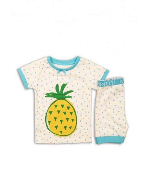 Biało-niebieska piżama dla dziewczynki z ananasem
