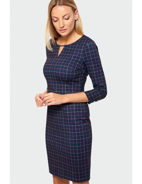 Elegancka sukienka granatowa w kratę