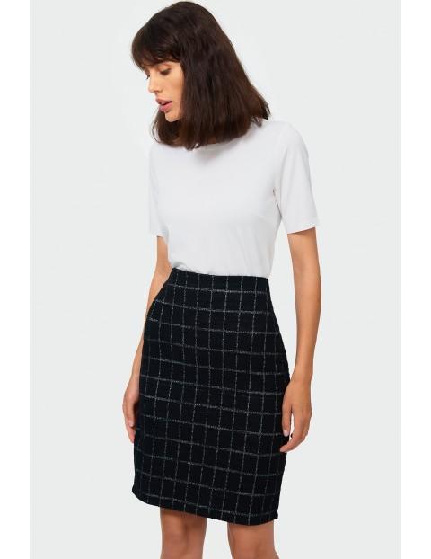 Spódnica damska z kratkę - czarna