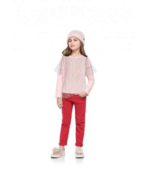 Bluzka dziewczęca różowa z napisem