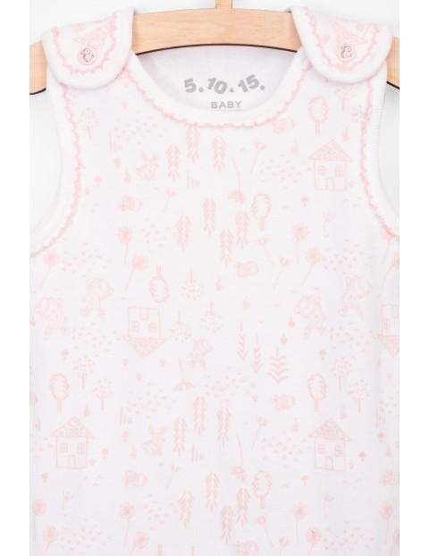 Śpiochy dziewczęce bawełniane z różowymi nadrukami