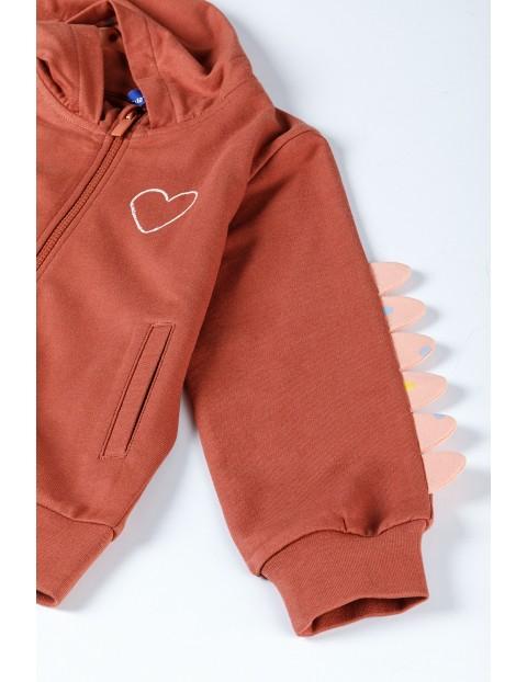 Pomarańczowa bluza dziewczęca z serduszkiem