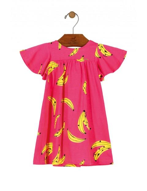 Sukienka niemowlęca różowa w banany z kokardą na plecach