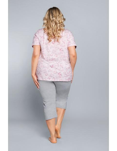 Dwuczęściowa piżama damska- różowa bluzka we wzorki na krótki rękaw + szare spodnie 3/4 nogawka