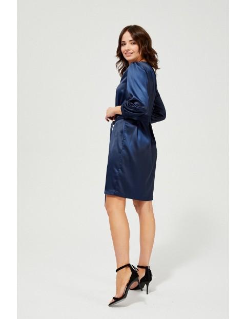 Atłasowa sukienka z bufiastymi rękawami - granatowa
