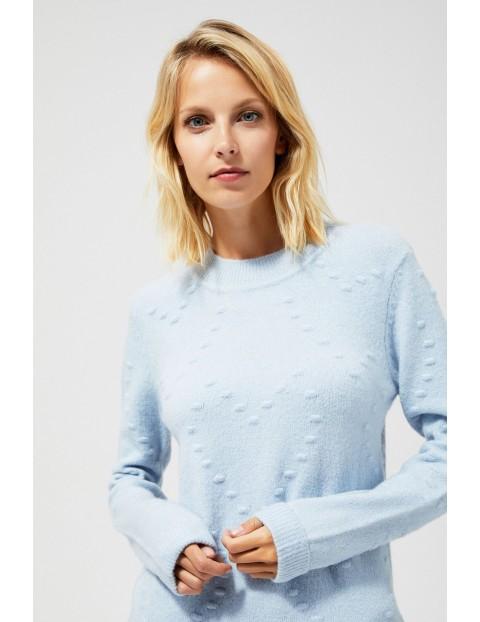 Sweter z groszkami  - niebieski